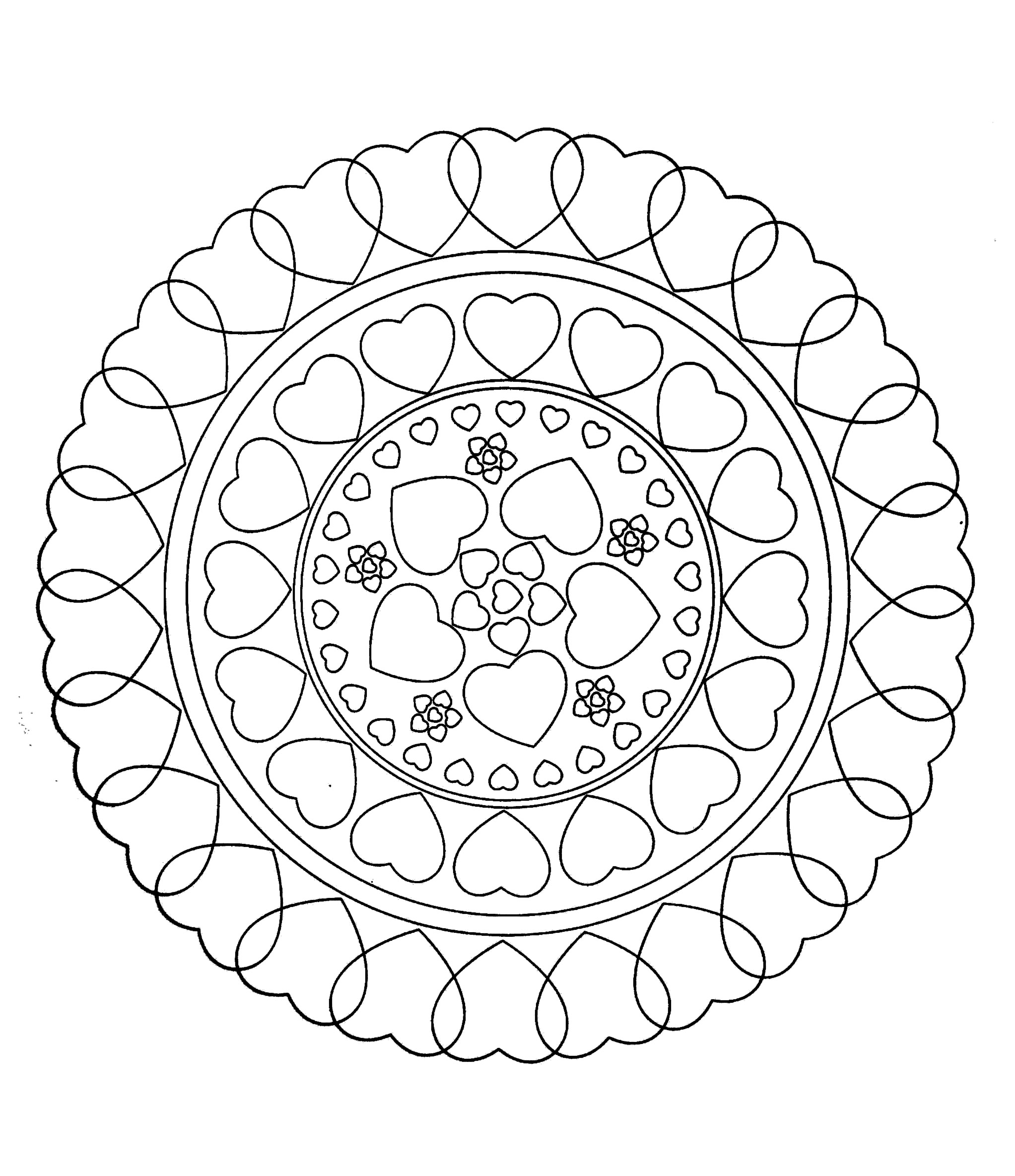 Free mandala to color : hearts love - M&alas Adult ...